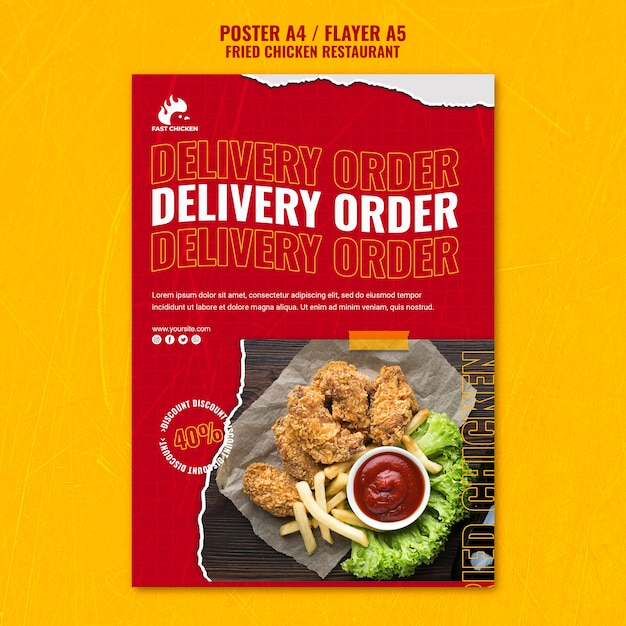Fried chicken delivery order flyer template Free Psd