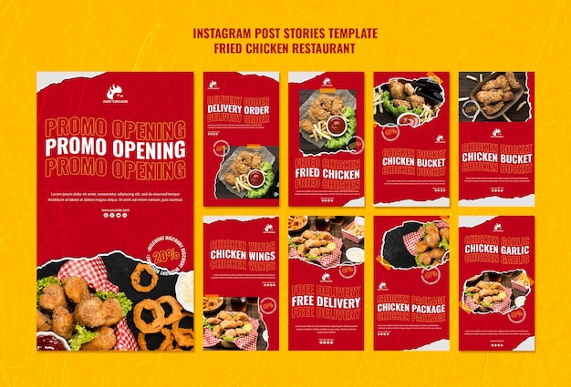 Fried chicken restaurant instagram stories Free Psd