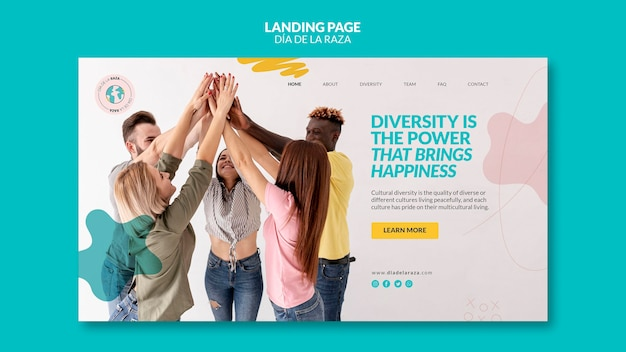 Friends of diverse ethnicity landing page Free Psd