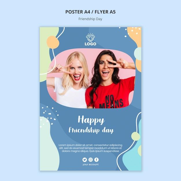 Флаер день дружбы шаблон Бесплатные Psd