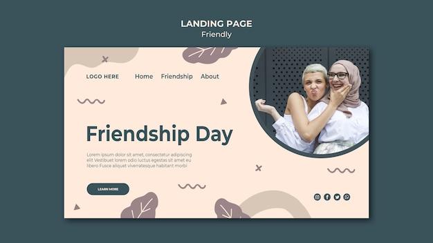 Шаблон целевой страницы дня дружбы Бесплатные Psd