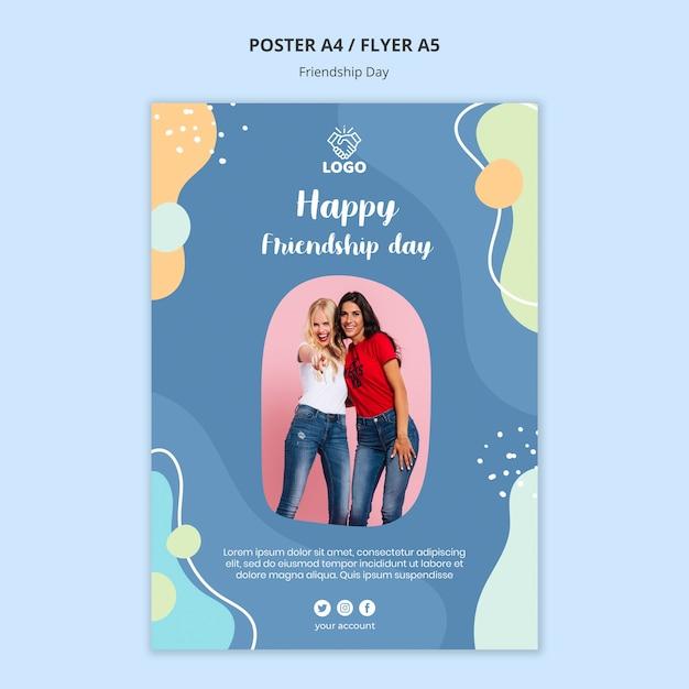 Шаблон плаката дня дружбы Бесплатные Psd
