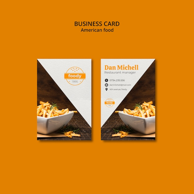 Fries combo fast foodbusiness card Free Psd