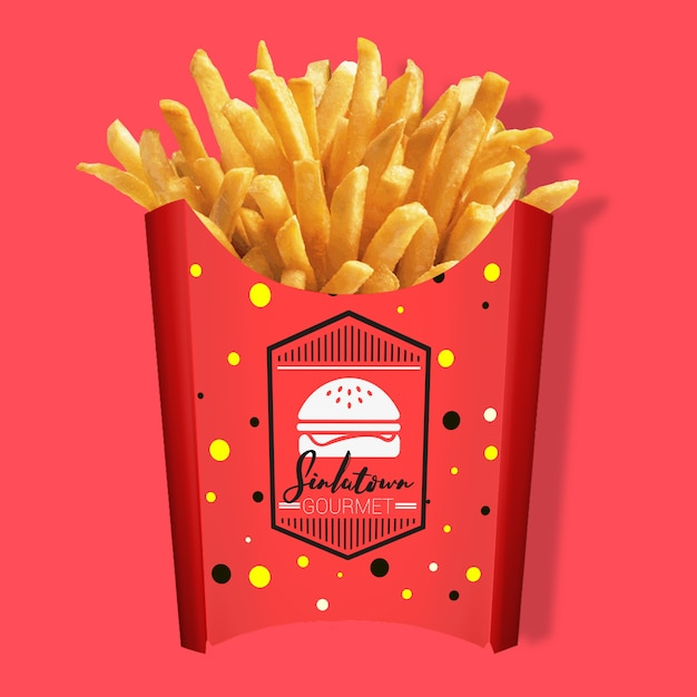 Fries Packaging Mock Up PSD File