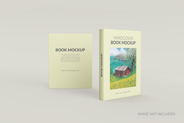 Front and back view of hardcover book standing mockup Premium Psd