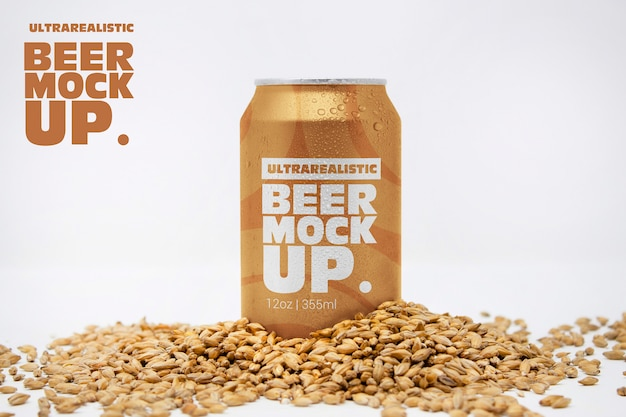 Front malt beer can mockup Premium Psd