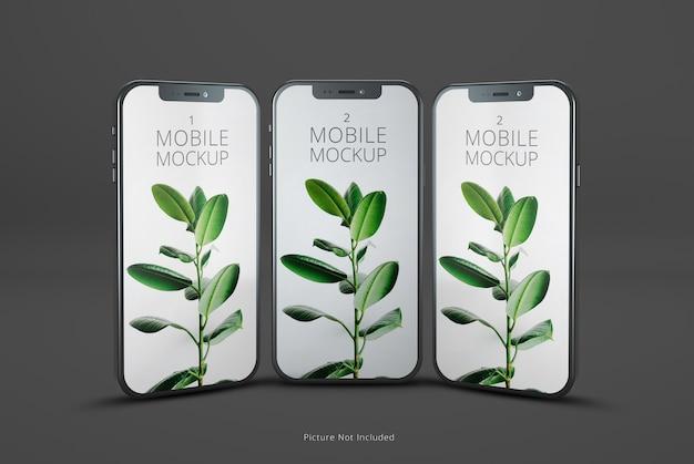 전면 또는 측면보기 휴대폰 화면 모형 프리미엄 PSD 파일