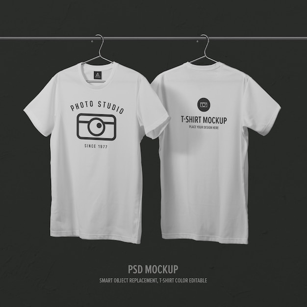 Front side & back side t-shirt mockup template with clothes hanger Premium Psd