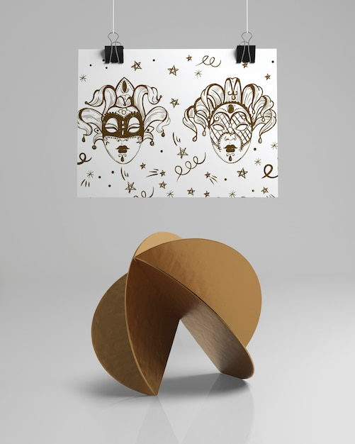 Front view abstract design with mask sketches Free Psd