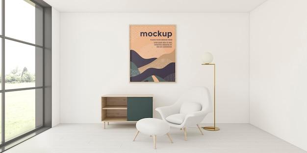Ассортимент вид спереди для интерьера дома с макетом рамы Бесплатные Psd