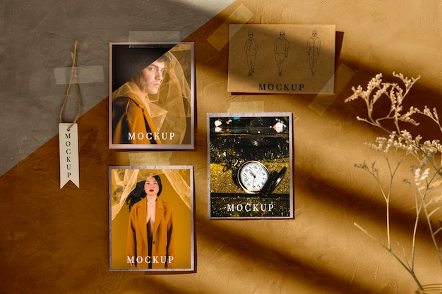 Front view of autumn moodboard mock-up Free Psd