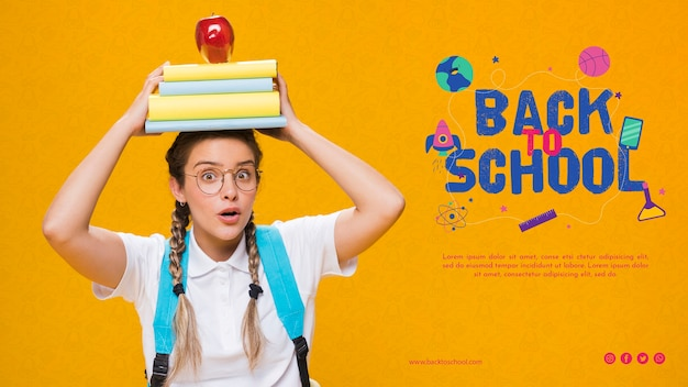 Front view back to school with teenager Free Psd