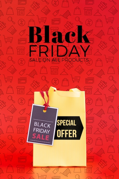 Front view of black friday concept on red background Free Psd