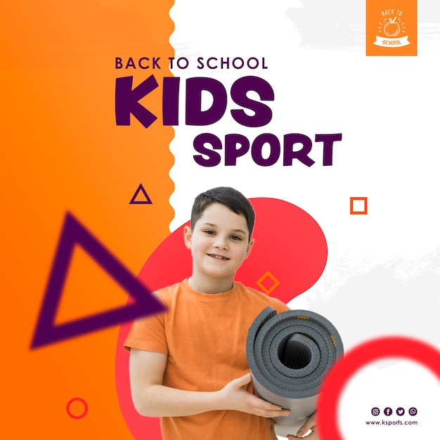 Front view boy holding sport mattress Free Psd