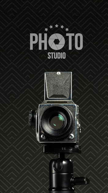 Front view of camera for photo studio Free Psd