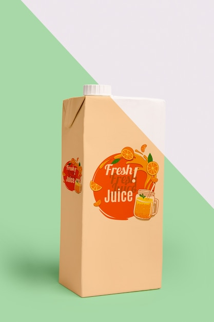 Front view of carton with juice Free Psd