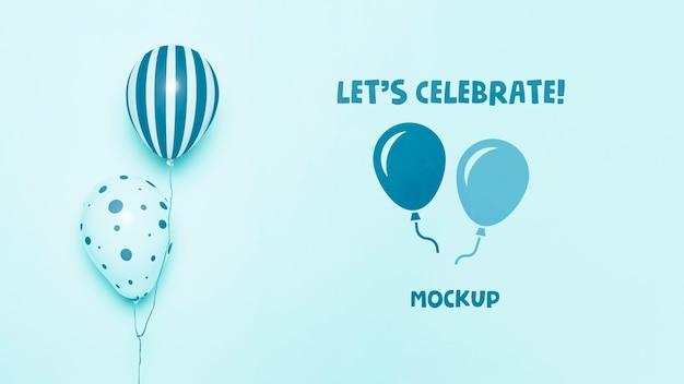 Vista frontale di palloncini mock-up celebrazione Psd Gratuite
