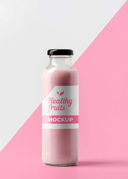 Front view of clear juice bottle with cap Free Psd