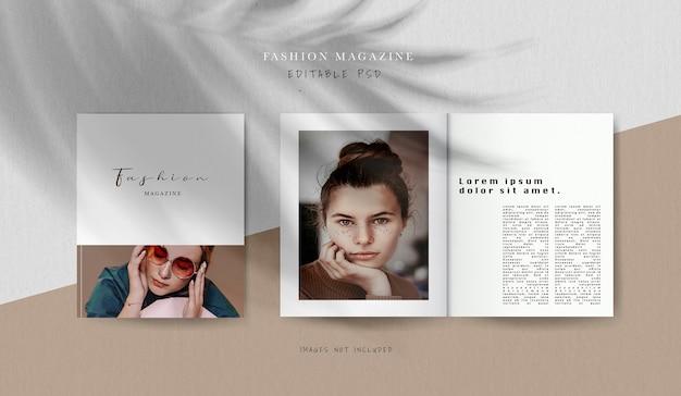 正面図の表紙と内部の編集雑誌のモックアップ 無料 Psd