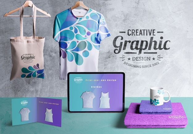 Front view of creative graphic designer desk Free Psd