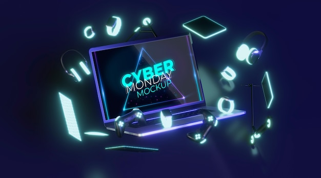 Front view cyber monday laptop for sale mock-up Free Psd