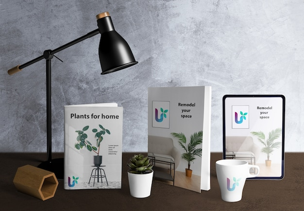 Front view of desk scene creator with plant elements Free Psd