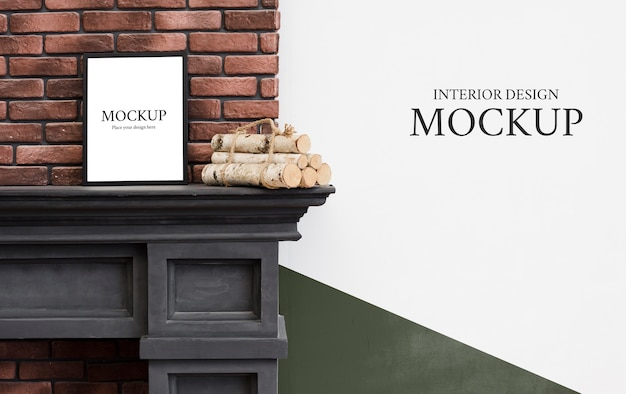 Front view of fireplace mock-up for interior decoration with copy space Free Psd