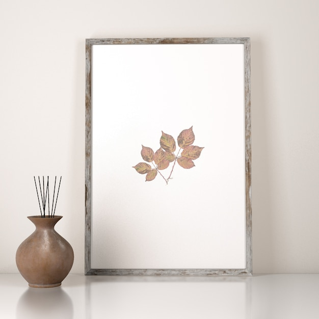 Front view of frame decoration with vase Free Psd