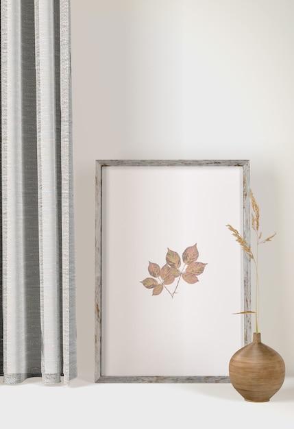 Рамка переднего вида с шторами и вазой Бесплатные Psd