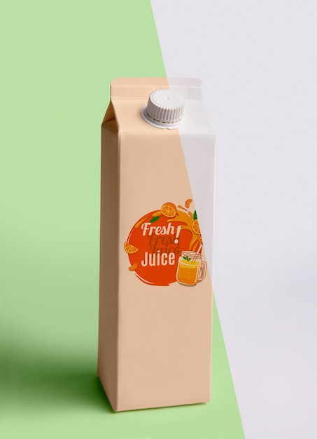 Front view of fresh juice carton Free Psd