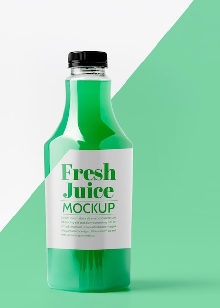 Front view of glass juice bottle Free Psd