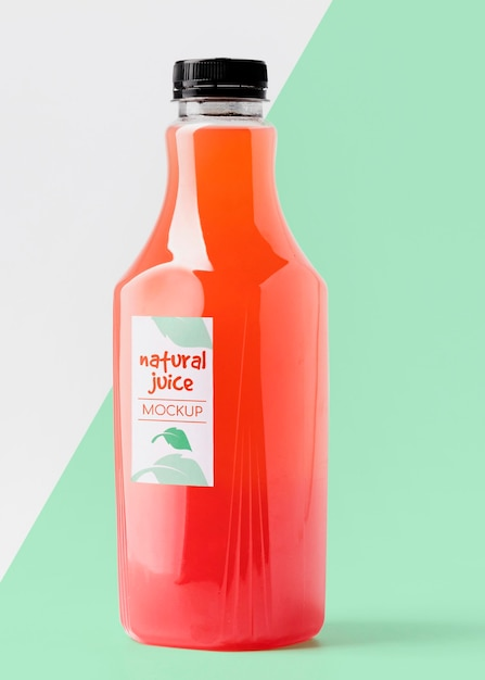 Front view glass juice bottle Free Psd