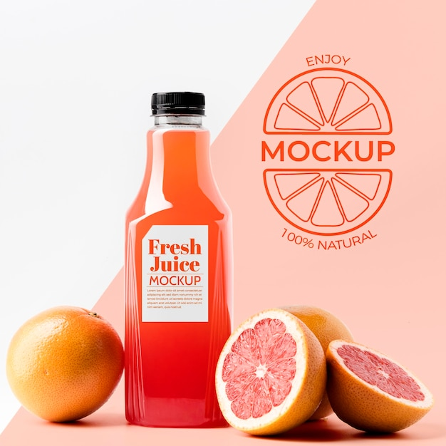 Front view of grapefruit juice glass bottle Free Psd