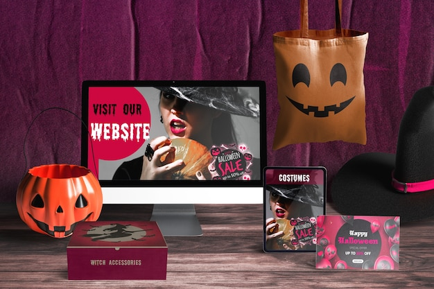 Front view of halloween concept Free Psd