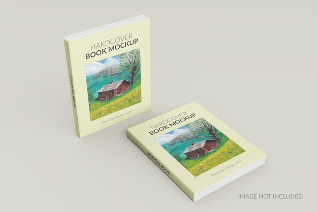 Front view of hardcover book standing mockup Premium Psd