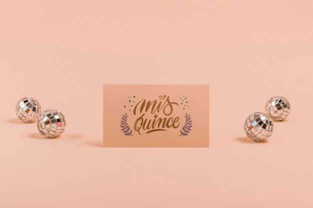 Front view invitation for sweet fifteen and silver balls Free Psd