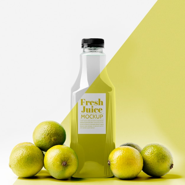 Front view of lemon juice bottle with cap Free Psd