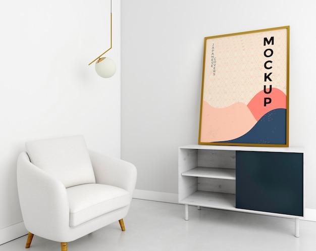 Вид спереди гостиной с макетом рамы Premium Psd