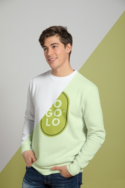 Front view of man wearing sweater Free Psd