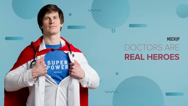 Vista frontale uomo con stetoscopio Psd Gratuite