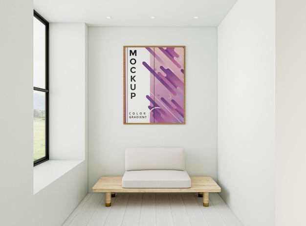 フレームのモックアップを備えた正面のシンプルな家の配置 無料 Psd