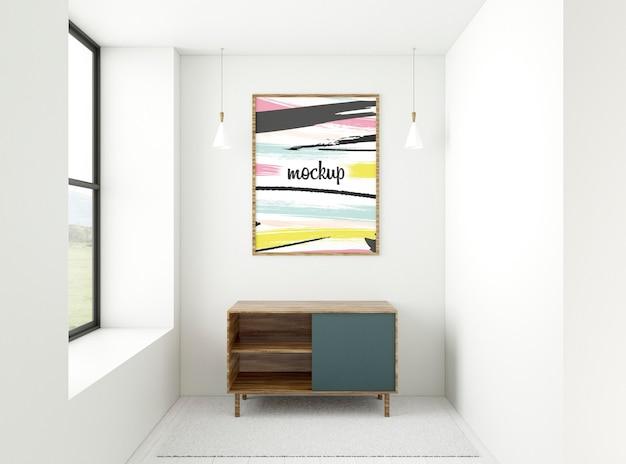 Composizione domestica minimalista vista frontale con cornice mock-up Psd Gratuite