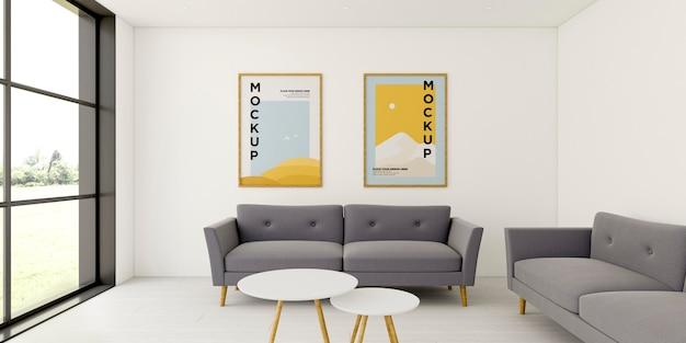 Disposizione interna minimalista vista frontale con cornici mock-up Psd Gratuite