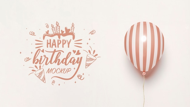 Front view of mock-up balloons for anniversary Free Psd