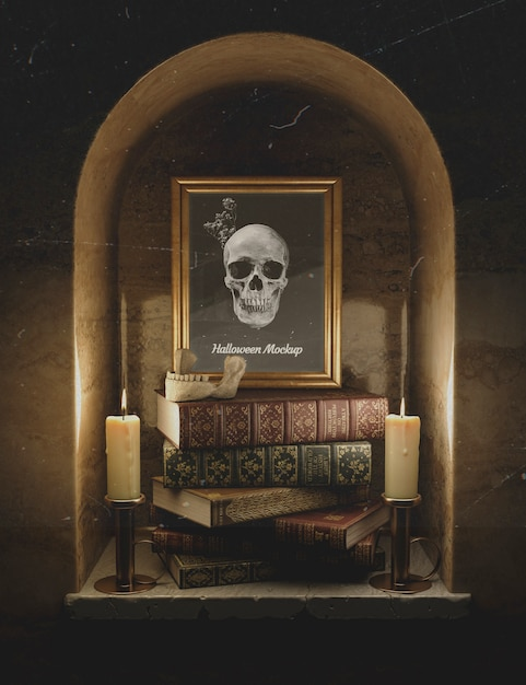 Front view mock-up frame with skull and pile of books Free Psd