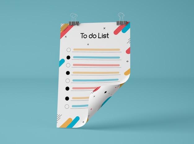 Vista frontale del mock-up con l'elenco delle cose da fare Psd Gratuite