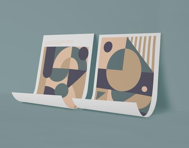Vista frontale di carte mock-up con forme geometriche Psd Gratuite