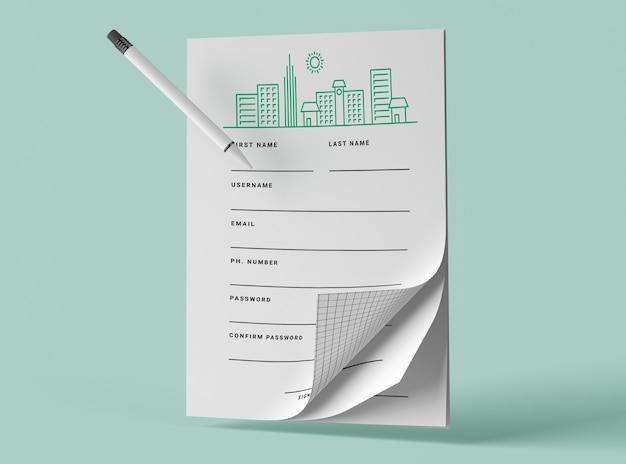 Front view of mock-up papers with pen Free Psd