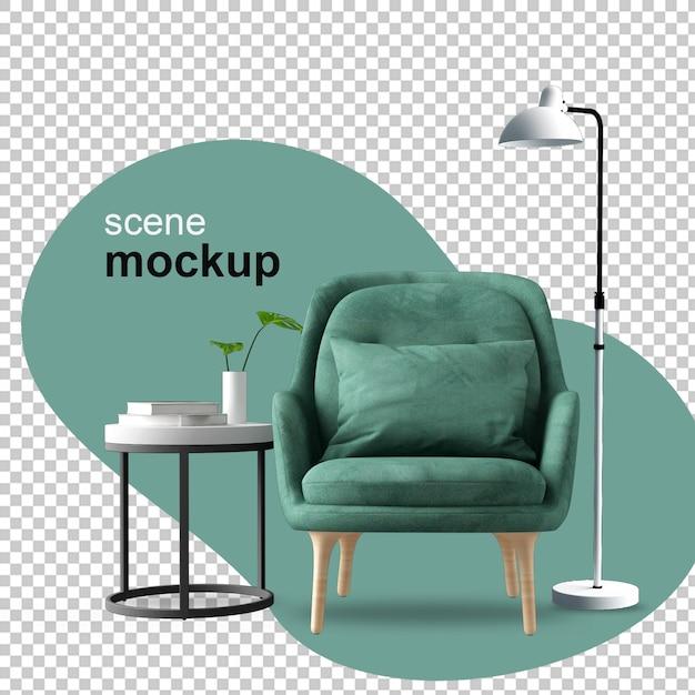 Кресло и растение, вид спереди в 3d-рендеринге Premium Psd