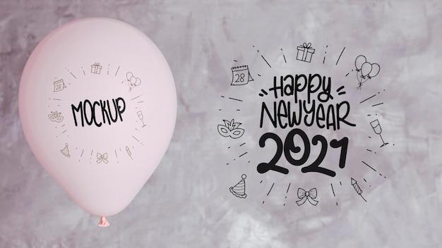 Вид спереди макета воздушных шаров для счастливого нового года Бесплатные Psd